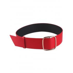 Faux Leather Rectangle Buckle Wide Coat Belt - Red