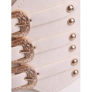 Retro Metal Buckles Rivet Wide Corset Belt - OFF-WHITE