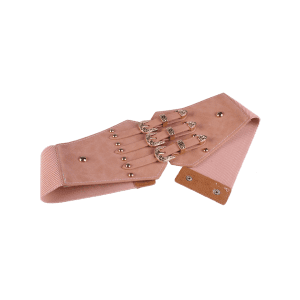 Retro Metal Buckles Rivet Wide Corset Belt - PINK