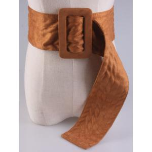 Wide Faux Suede Rectangle Buckle Waist Belt -