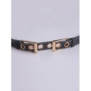 Double Pin Buckle Metal Hole Waist Belt - BLACK