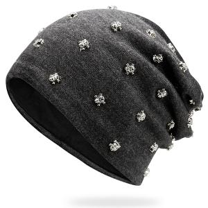 Tiny Skull Rivet Beanie Hat - Frost