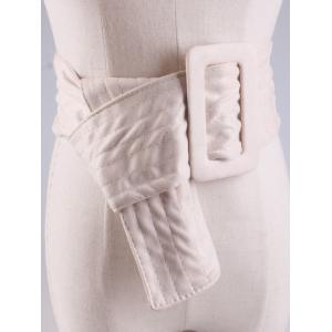 Wide Faux Suede Rectangle Buckle Waist Belt - OFF-WHITE