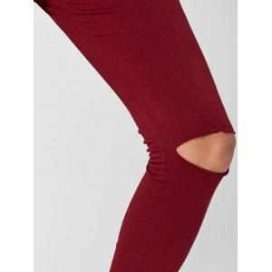 Hooded Crop Top with High Waisted Ripped Pants - WINE RED S