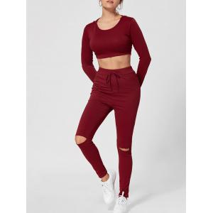 Hooded Crop Top with High Waisted Ripped Pants - Wine Red - 2xl