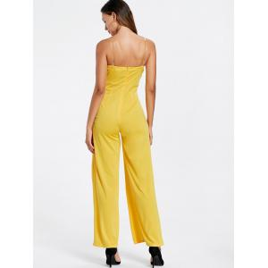 High Slit Strapless Maxi Jumpsuit - YELLOW S