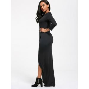 Criss Cross Plunging High Low Maxi Dress - BLACK S