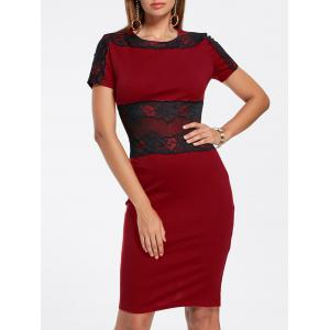 Lace Panel Pencil Dress - Wine Red - M