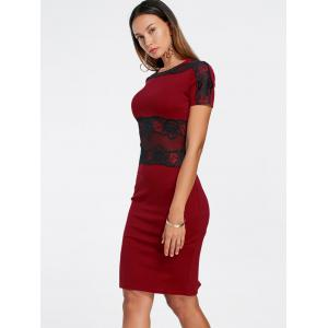 Lace Panel Pencil Sheath Dress - WINE RED M