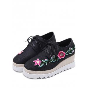 Embroidered Denim Wedge Shoes - BLACK 37