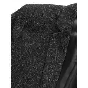 Lapel Collar One Button Tweed Blazer - Gris 3XL