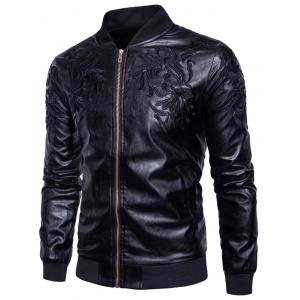 Embroidered PU Leather Zip Up Jacket - Black - 2xl