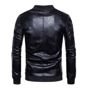 Embroidered PU Leather Zip Up Jacket -