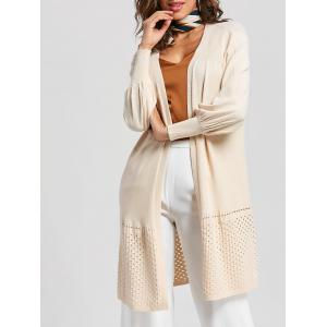 Hollow Out Puff Sleeve Open Front Cardigan - Off-white - One Size