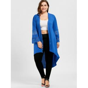 Taille élevée Hollow Out High Low Coat - Bleu XL