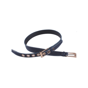 Double Pin Buckle Metal Hole Waist Belt - DEEP BLUE