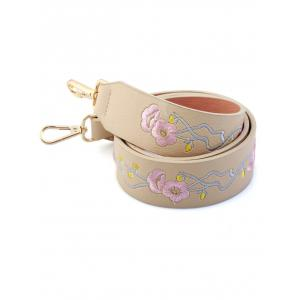 PU Bag Strap with Wintersweet Embroidery - OFF-WHITE