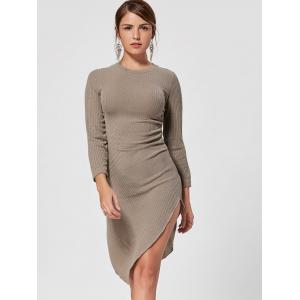 Asymmetrical Crew Neck Mini Knit Bodycon Dress -