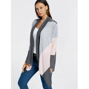 Color Block Drape Front Longline Cardigan -