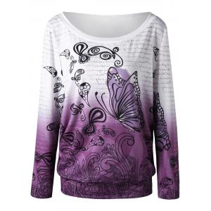 Sweat-shirt Imprimé Papillon Ombré Encolure Cloutée - Blanc + Violet 2XL