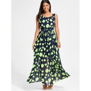 Polka Dot Swing Maxi Dress - Fluorescente Verte 2XL