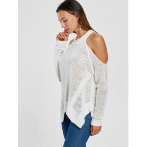 Cold Shoulder Open Knit Sweater -