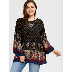 Plus Size Tribe Print Bell Sleeve Blouse -