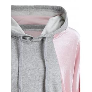 Color Block Plus Size Velvet Hoodie -