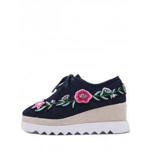 Embroidered Denim Wedge Shoes -