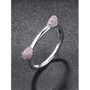 Sterling Silver Rhinestone Kitten Ears Ring -