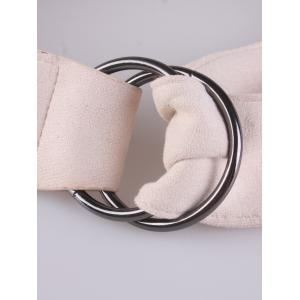 Metallic Double Round Buckle Faux Suede Belt -