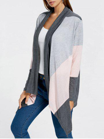 Color Block Drape Front Longline Cardigan - Gray - L
