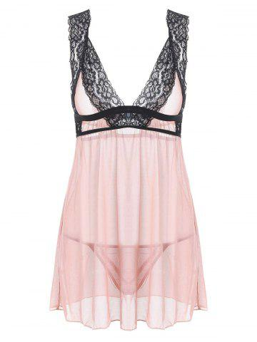 Fancy Lingerie Plunge Mesh Sheer Babydoll COMPLEXION S