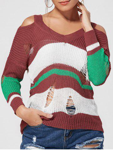 Color Block Ripped Knit Top - Brick-red - One Size