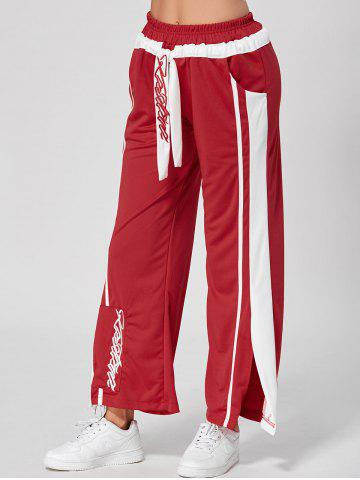 Trendy Letter Embroidery Slit Active Wide Leg Pants - L RED Mobile