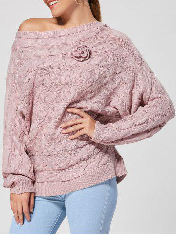 Trendy Cable Knit Floral Dolman Sleeve Sweater PINKISH PURPLE ONE SIZE