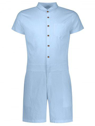 Fashion Single Breasted Short Sleeve Romper LIGHT BLUE XL