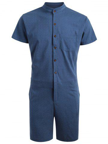 Discount Single Breasted Short Sleeve Romper DEEP BLUE XL