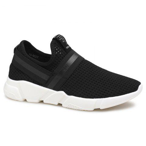Outfits Elastic Band Hollow Out Slip On Casual Shoes - 40 BLACK Mobile