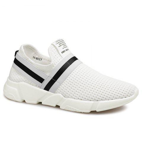 Buy Elastic Band Hollow Out Slip On Casual Shoes - 43 WHITE Mobile