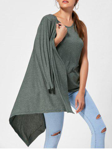 Long Sleeve Collarless Cardigan with Tank Top - Army Green - One Size