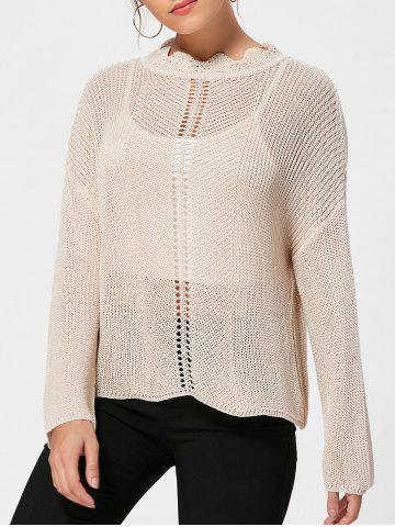 Ruff Collar Knit Drop Shoulder Sweater - Apricot - One Size