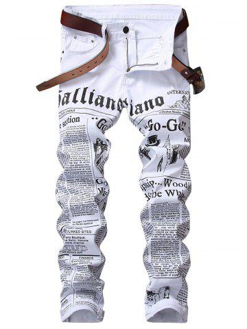 Cheap Zip Fly Journal Print Jeans - 34 WHITE Mobile