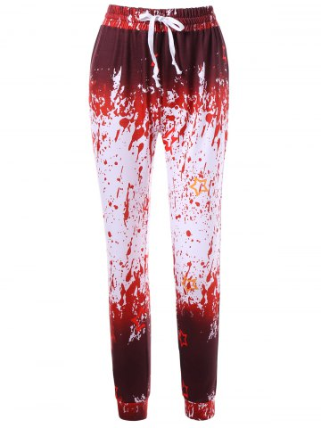 Drawstring Splatter Paint Active Pants - Red With White - L