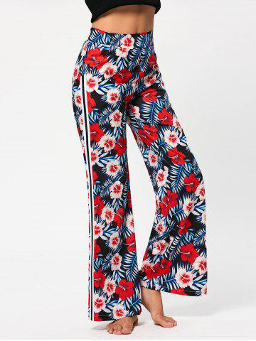 Hawaii Print High Waist Casual Pants - Red - S