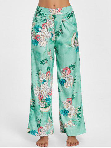 Hot Floral Palazzo Wide Leg Pants GREEN M
