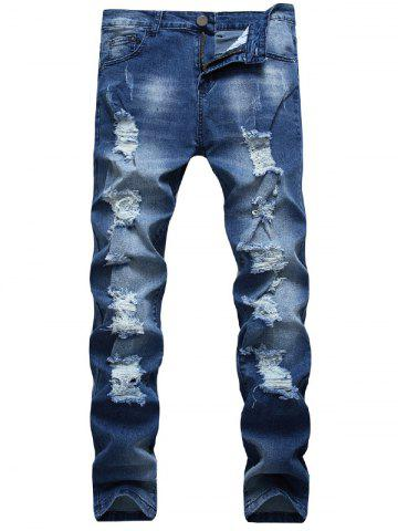 Outfit Zip Fly Faded Ripped Jeans BLUE 32
