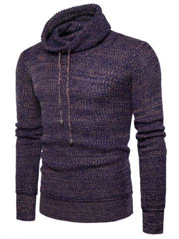 Knit Blends Cowl Neck Drawstring Sweater - Coffee - M