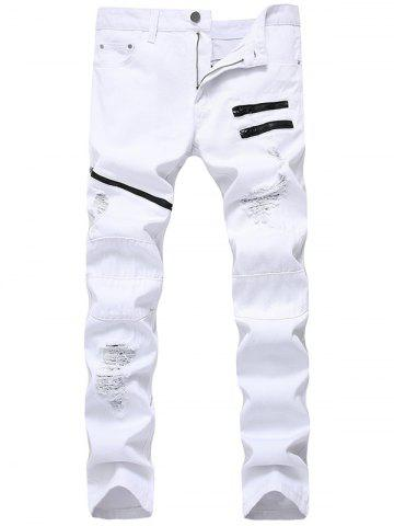 Zip Embellished Ripped Jeans Blanc 32