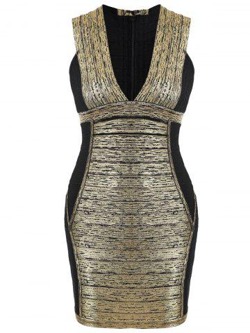 Plunge Neck Color Block Bandage Dress - Golden - L